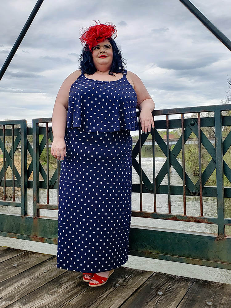 plus-size kentucky derby style polka dot maxi red hat