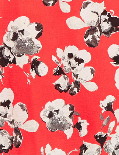 prints swatch red black and white flowers