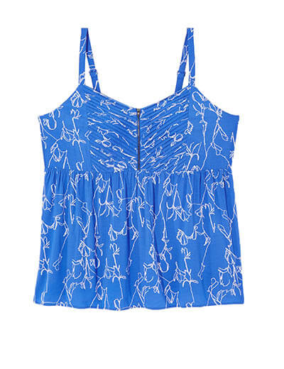 prints plus size blue tank top with white flowers