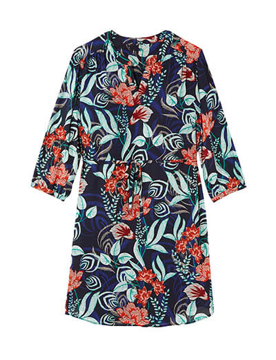 prints plus size tropical flower belted dress