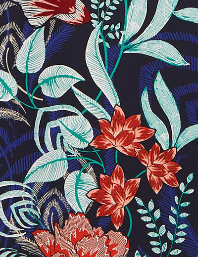 prints swatch turquoise red flowers