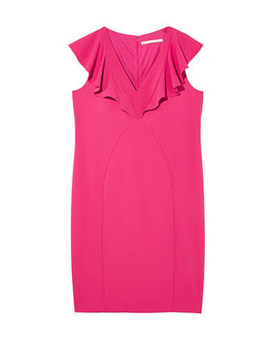 Magenta body con plus size dress with ruffle