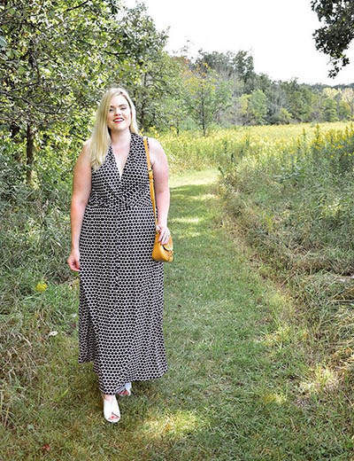 plus-size outfit photos printed maxi dress