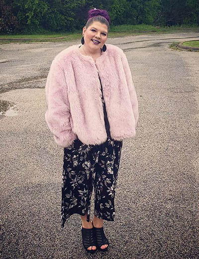 plus-size florals randi north floral jumpsuit pink faux fur jacket