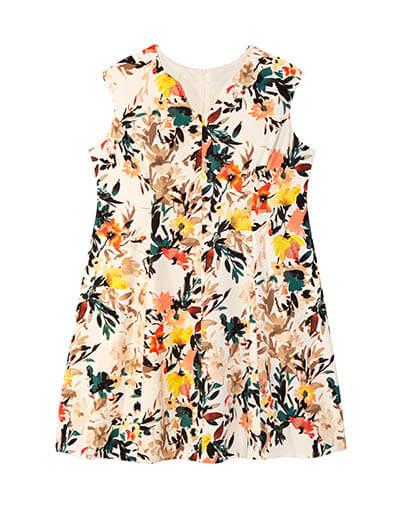 Plus-size floral sleeveless dress