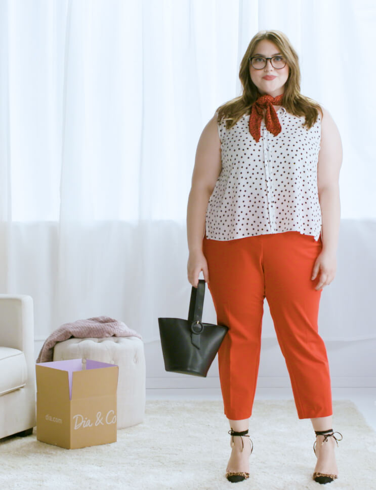 plus-size red pants polka dot top red scarf bucket tote