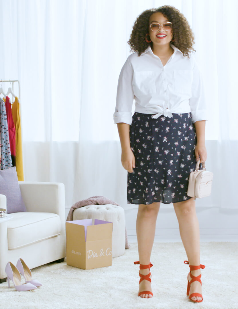 plus-size button-up navy printed skirt red heels