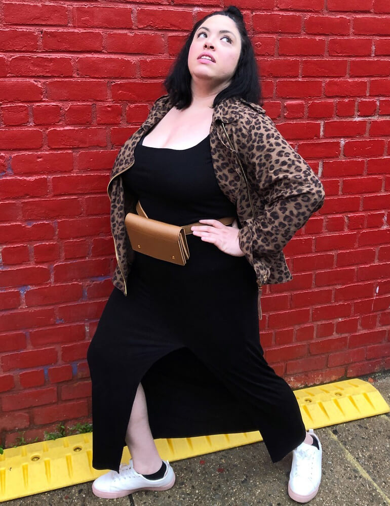 plus-size dress with sneakers leopard moto jacket black maxi dress fanny pack white sneakers
