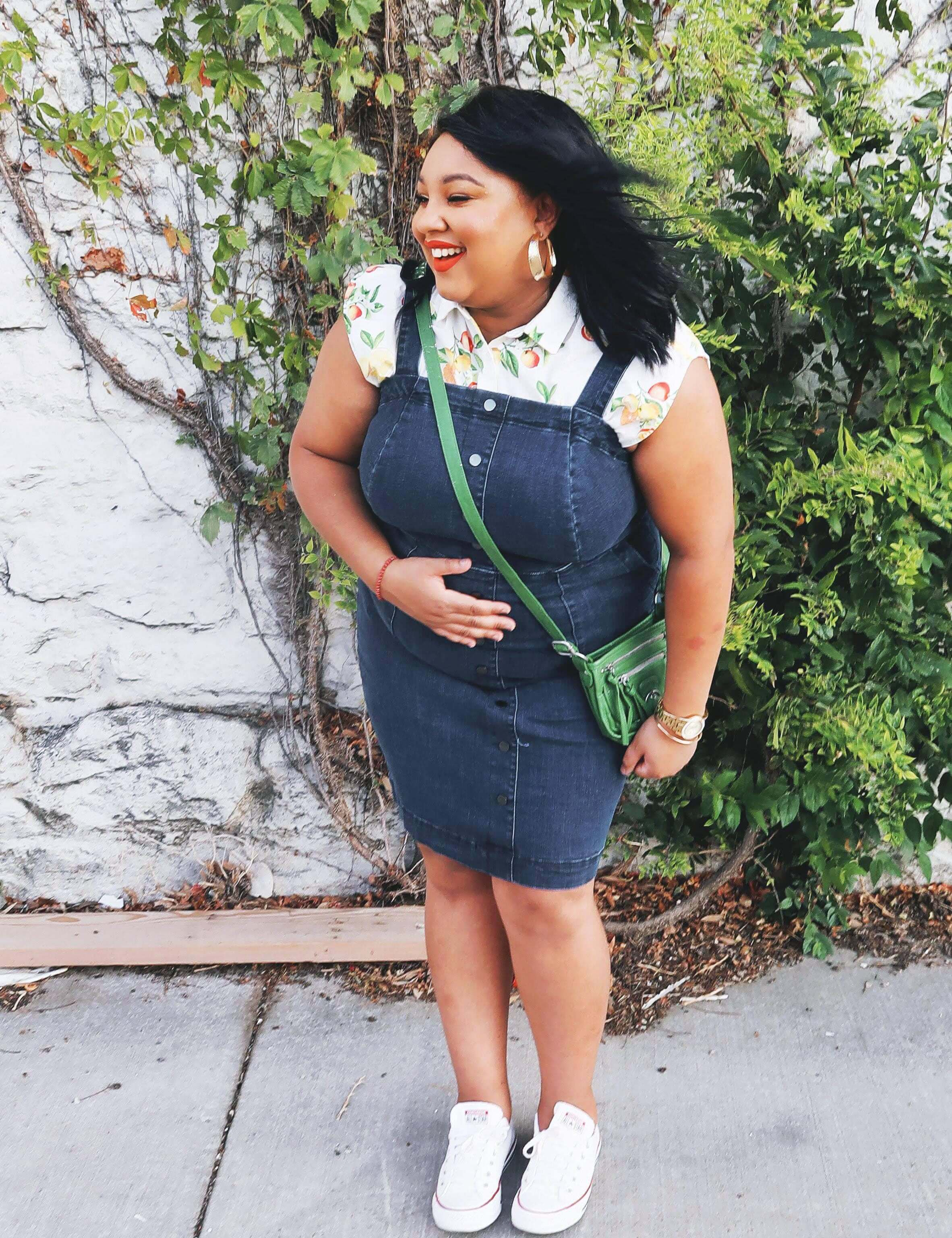 plus-size dress with sneakers denim jumper floral top white sneakers