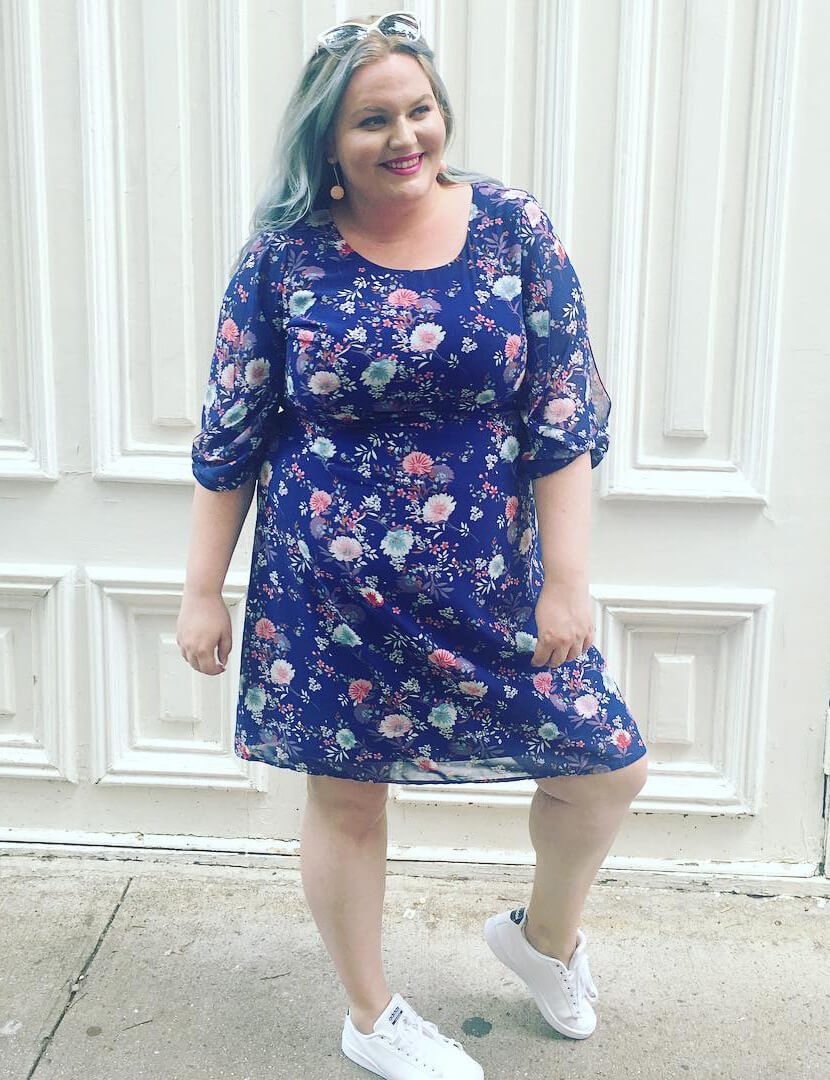plus-size dress with sneakers blue floral dress white sneakers