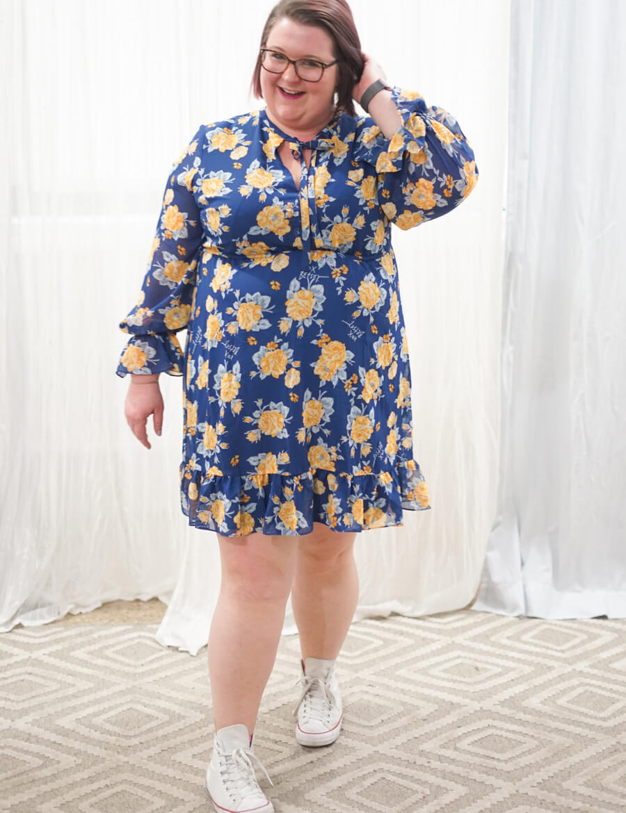plus-size dress with sneakers betsey johnson floral dress white chuck taylors