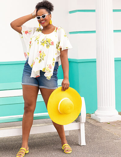 plus size floral waterfall top and denim shorts yellow accessories