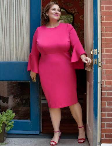 jennifer weiner plus size fuchsia dress with trumpet sleeves