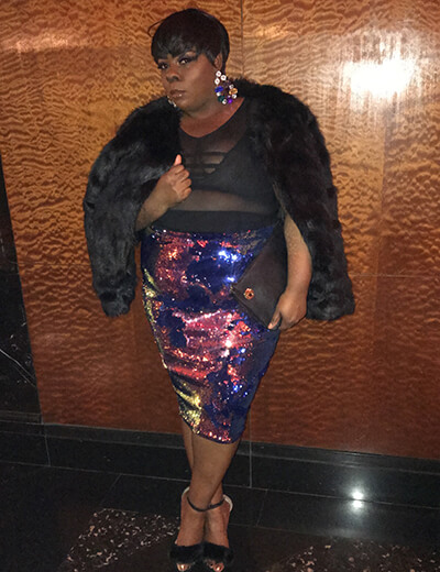 de'shantel odom-brown plus-size fur jacket black sheer top and sequined pencil skirt