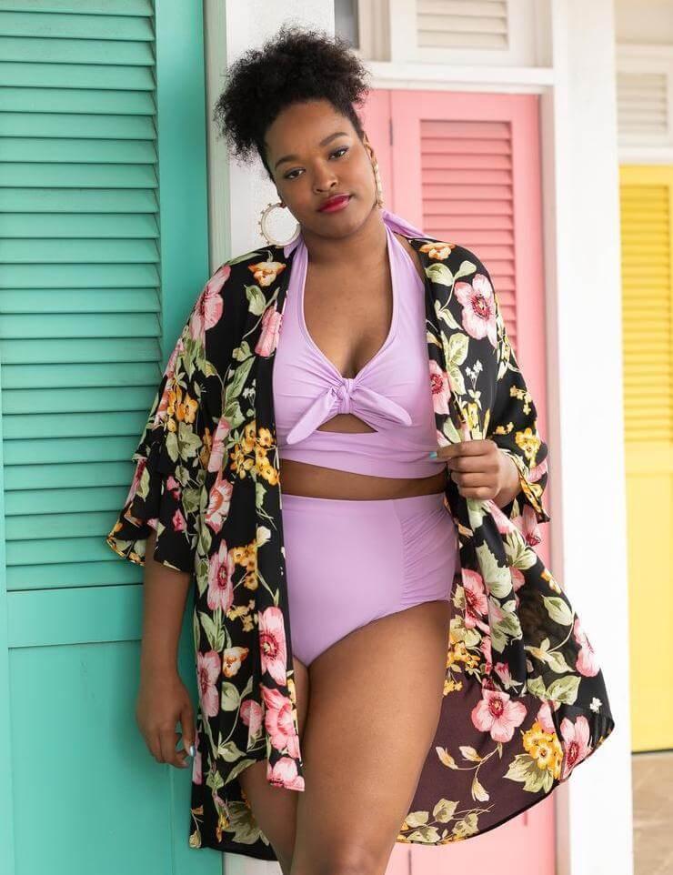 plus size lavender bikini with floral kimono