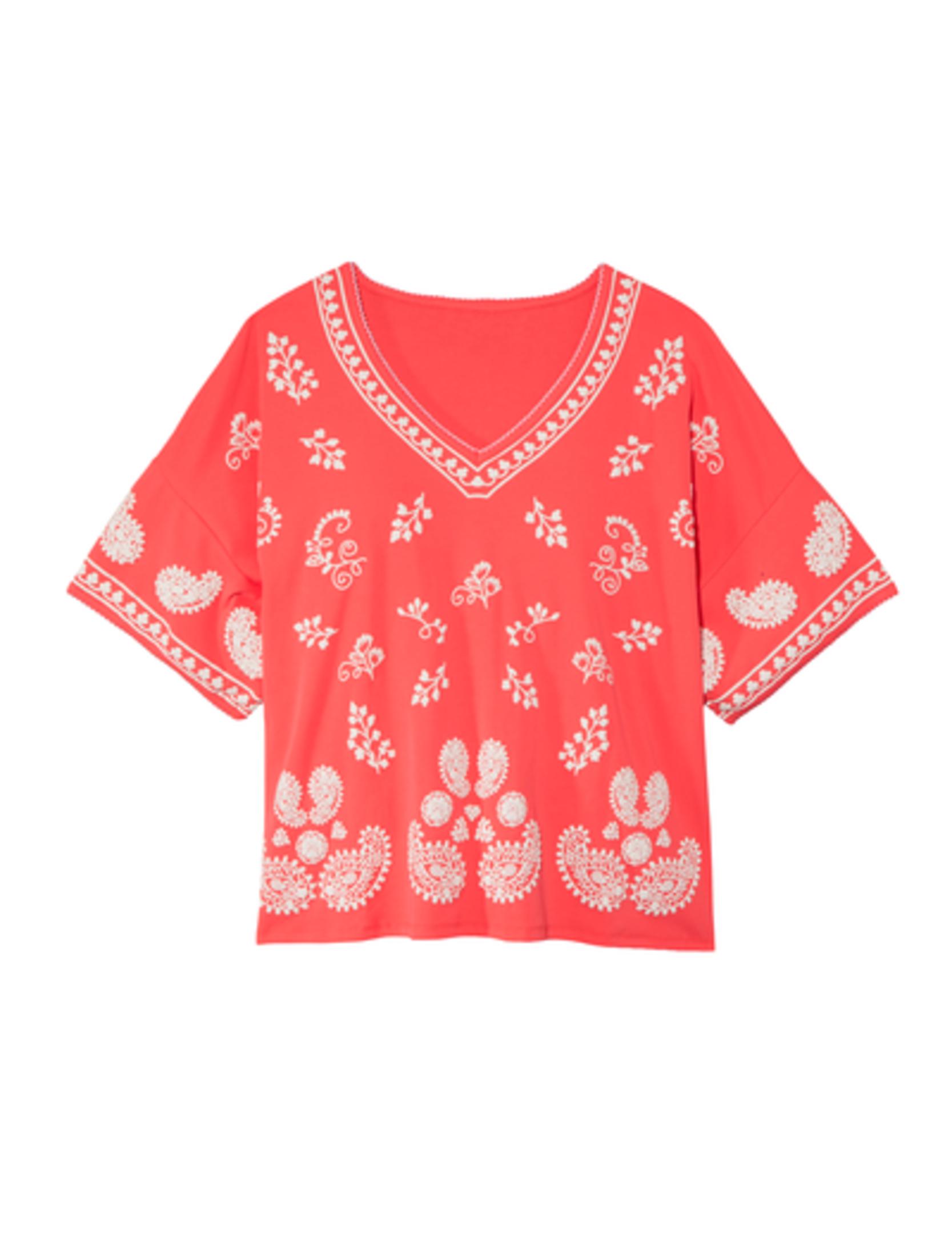 plus size new arrivals coral boho blouse