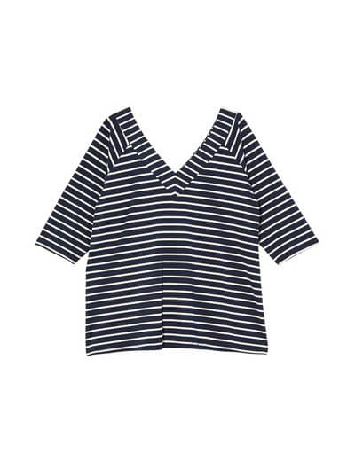 4th of july outfits plus size striped v-neck tee