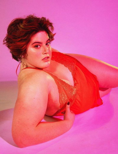 plus size lgbtq influencers shay neary red lingerie