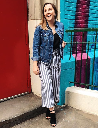 plus size mannequins lana striped pants denim jacket