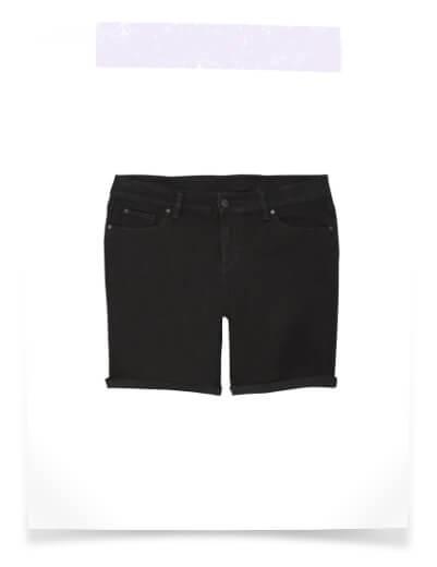 plus size black rolled up denim shorts