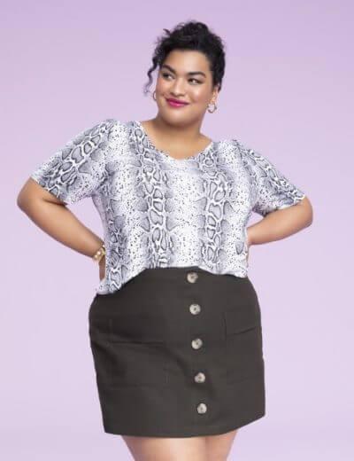 plus size leopard print top button front skirt