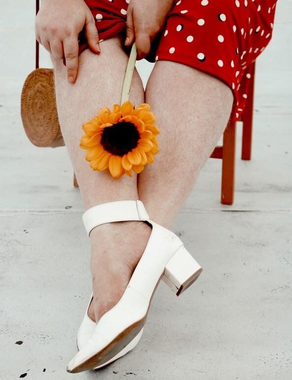 sunflower on legs red polka dot dress