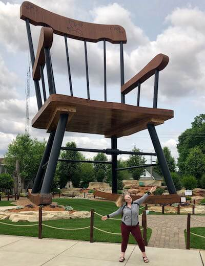 Ashby at The World's Largest Rocking Chair, in Casey, Illinois.