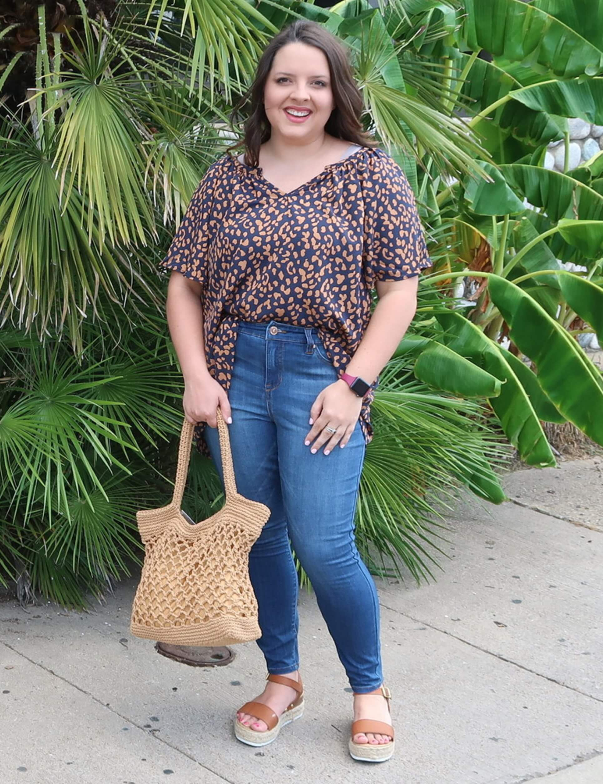 plus size cheetah print top skinny jeans