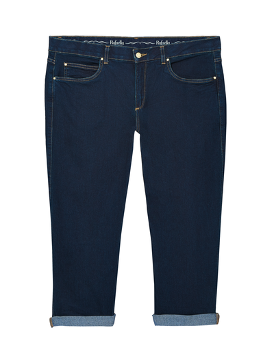 plus-size denim for fall dark wash cuffed capris