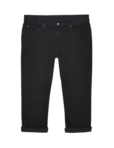 black plus-size jeans cuffed capris