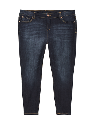 distressed dark-wash plus-size jeans