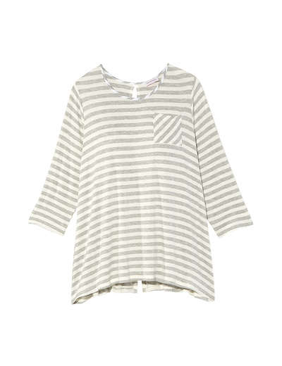 plus size striped three quarter length tee with pocket
