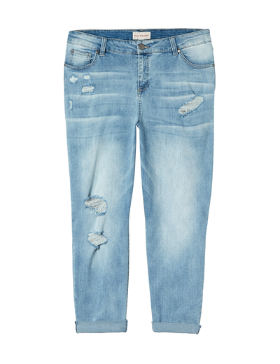 plus size light wash distressed denim