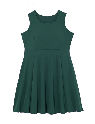 fall wedding plus size forest green sleeveless dress