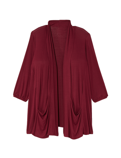 plus size burgundy three quarter length cardigan with pockets
