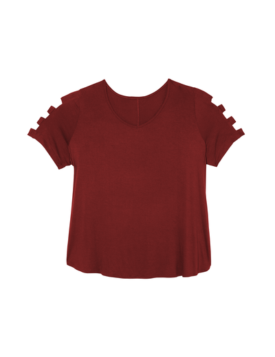 plus size burgundy t shirt with lattice sleeves