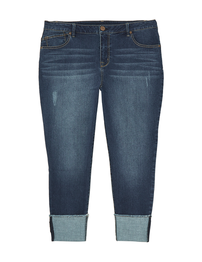 plus-size denim for fall wide-cuff denim