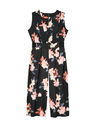 fall wedding plus size floral jumpsuit