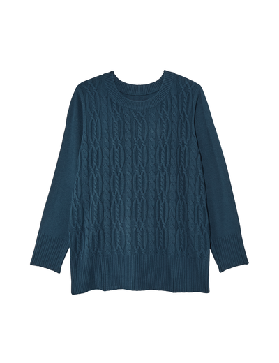 fall fashion 2019 plus size blue cable knit sweater