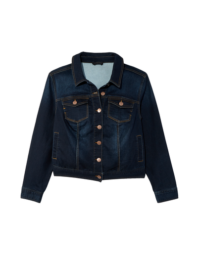 plus size dark wash denim jacket