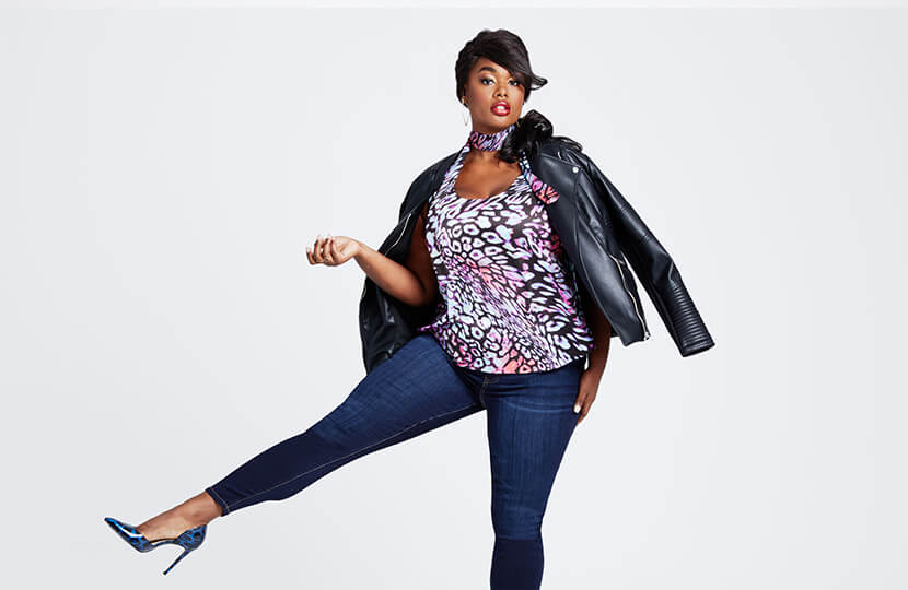 plus-size denim for fall precious lee in skinny jeans