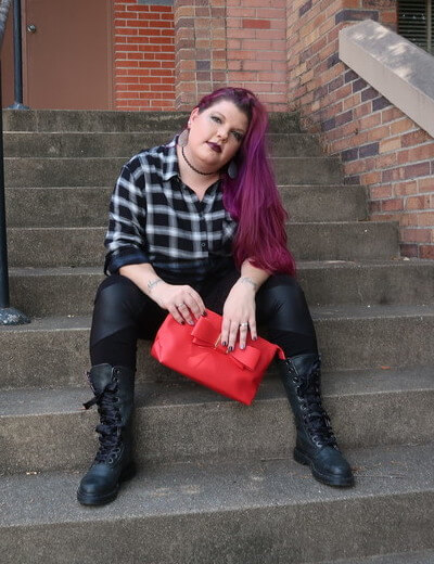 plus size picks flannel moto pants and red clutch