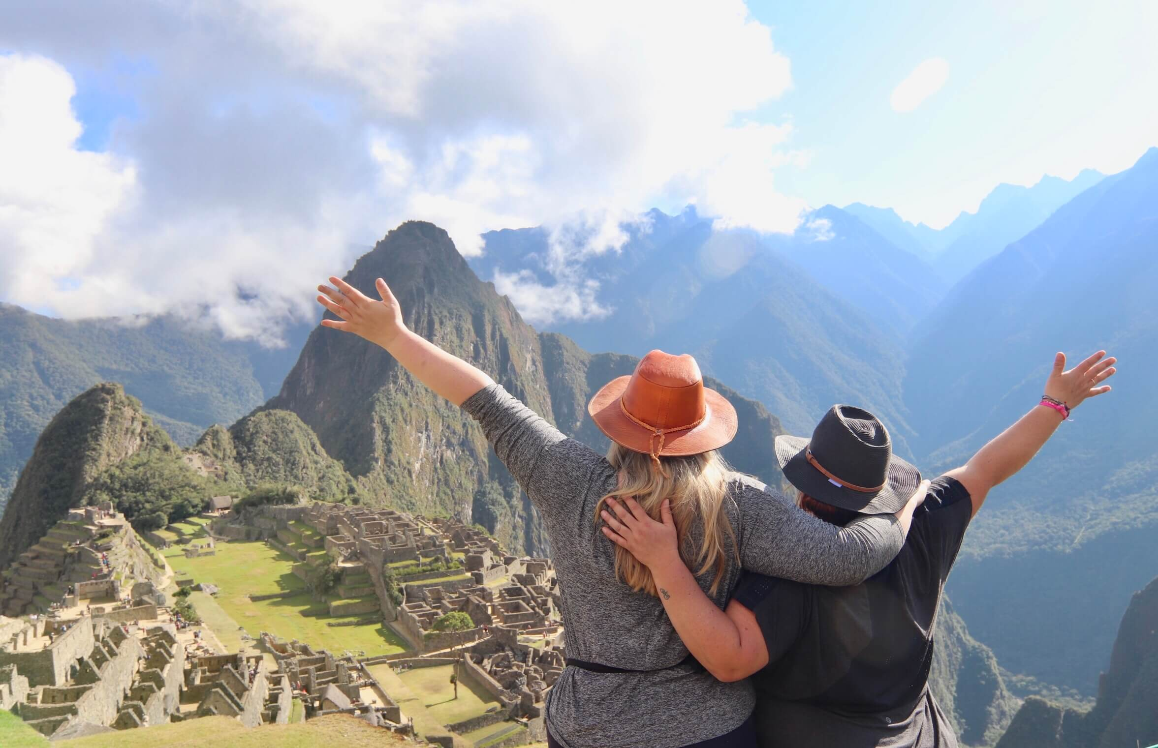 Fat women overlooking Machu Picchu