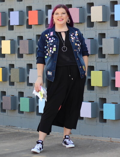 plus size picks denim jacket pins black jumpsuit