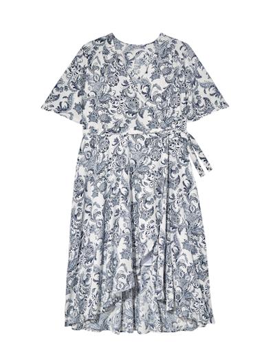 blue and white plus size faux wrap dress
