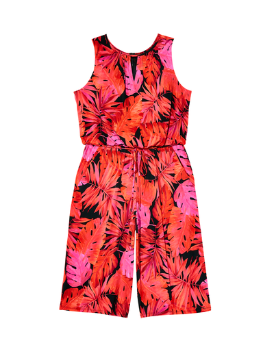 plus size red printed jumpsuit