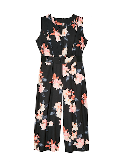 plus size black floral jumpsuit