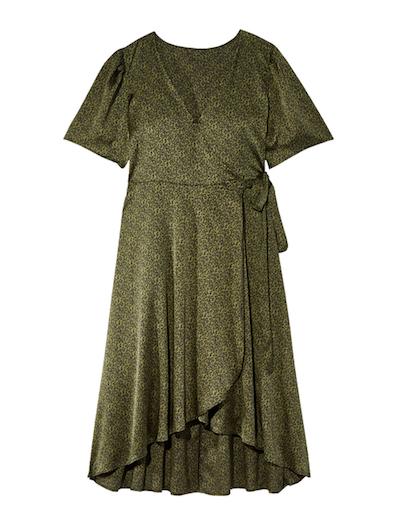 plus size wrap green dress