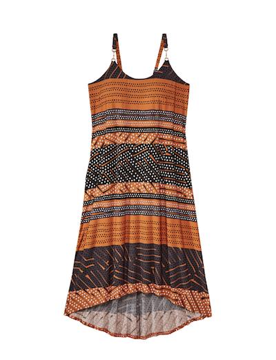 orange and grey plus size dress