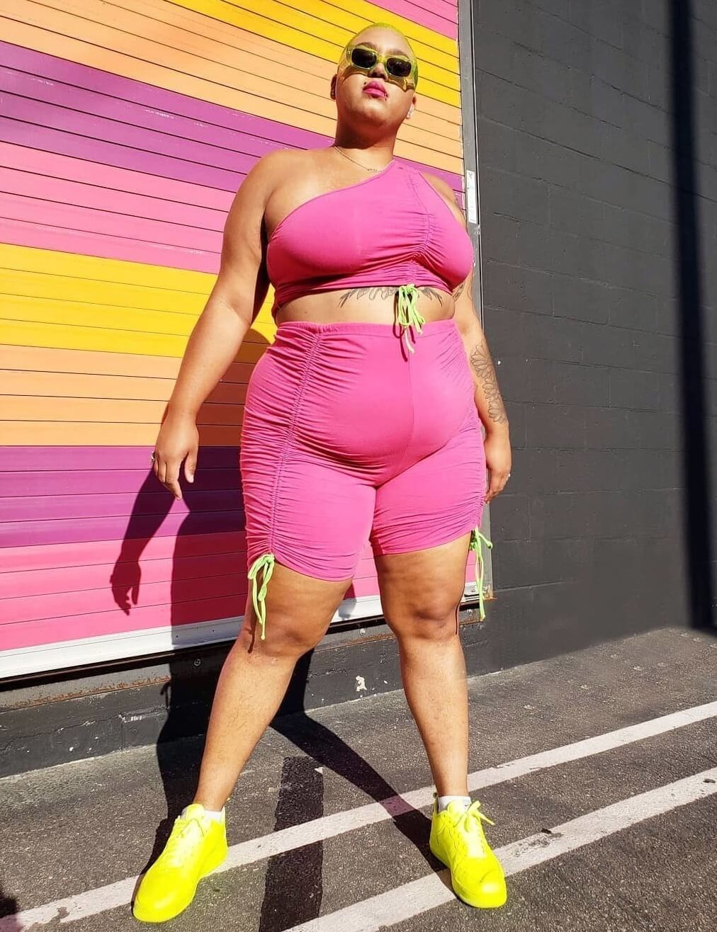 jazzmyne robbins in plus size fuchsia and lime green outfit
